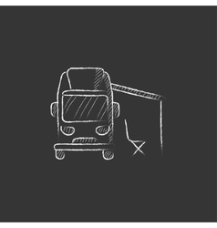 Motorhome with tent drawn in chalk icon vector