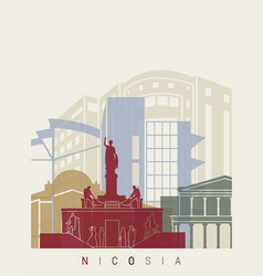 nicosia skyline poster vector image vector image