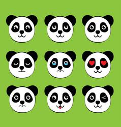 Panda face expressions vector