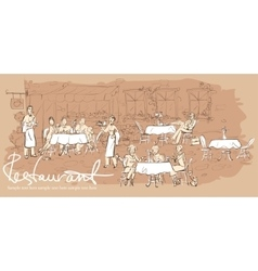 People at restaurant outdoor cafe - hand drawn vector