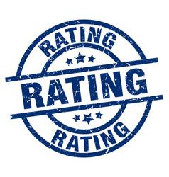 Rating blue round grunge stamp vector