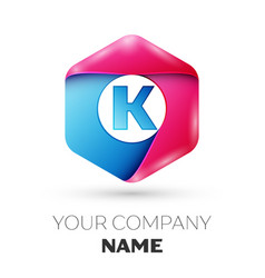 Realistic letter k in colorful hexagonal vector