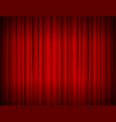 realistic red full closed stage curtains vector image