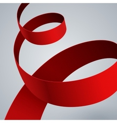 Red fabric curved ribbon on grey background vector