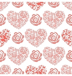 Seamless pattern with red hearts and roses vector image vector image