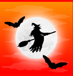 Silhouette of a terrible witch on a broomstick vector
