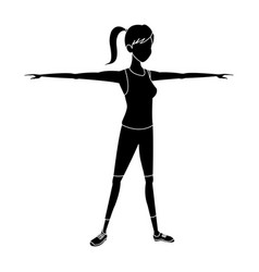 Silhouette sport girl open arms athletic fitness vector