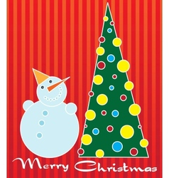 snowman and Christmas tree vector image vector image