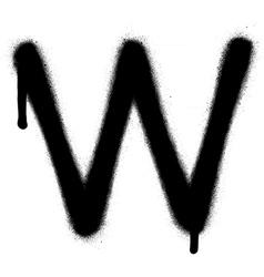 Sprayed w font graffiti with leak in black vector