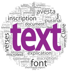 Text concept in word tag cloud isolated vector