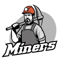 Tough miner hold the pickaxe vector
