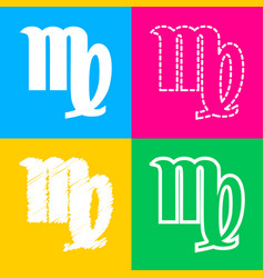 Virgo sign four styles of icon on vector