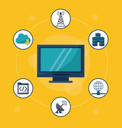 Yellow background with desktop computer in closeup vector