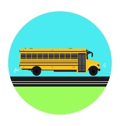 Yellow school bus on the road vector