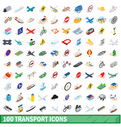 100 transport icons set isometric 3d style vector