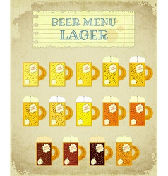 Vintage beer card lager vector