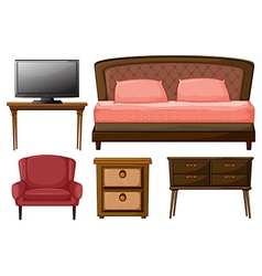 Home furnitures and television vector