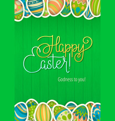 Happy easter greeting card green wooden vector