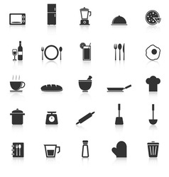 Kitchen icons with reflect on white background vector