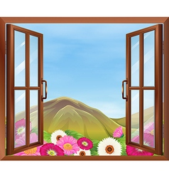 An open window with flowers outside vector