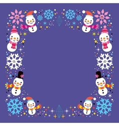 Christmas snowman snowflakes winter holiday frame vector
