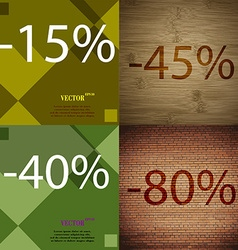 45 40 80 icon set of percent discount on abstract vector