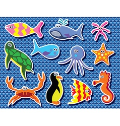 background of colorful sea animals vector