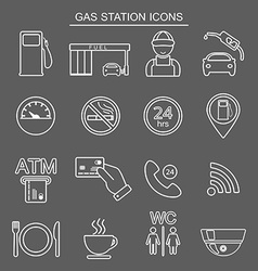 Gas station line icons isolated vector