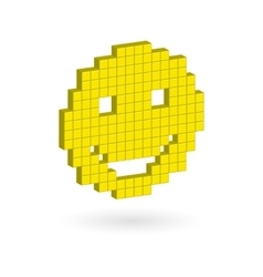 Isometric yellow laughing happy smiley face vector