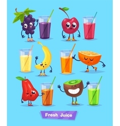 Set of fruit characters and fresh juice vector