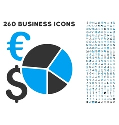Financial pie chart icon with flat set vector