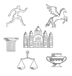 Greece culture and history icons vector