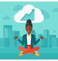 Peaceful business woman meditating vector