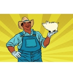 African american farmer with a pig-piggy bank vector