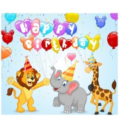 Birthday background with happy animals vector