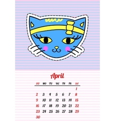 Calendar 2017 with cats april in cartoon 80s-90s vector