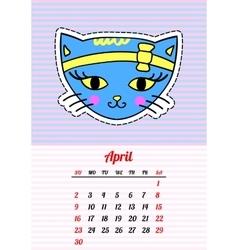 Calendar 2017 with cats april in cartoon 80s-90s vector