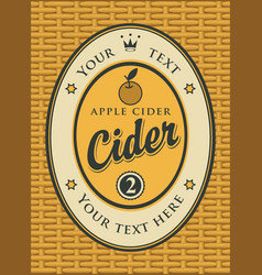 Cider label in a frame on the basket vector