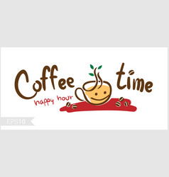 Coffee time happy hour for badge label vector