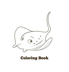 Coloring book stingray cartoon educational vector