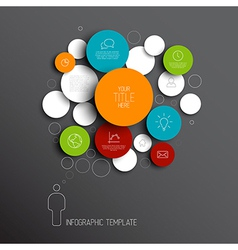 Dark abstract circles infographic template vector image vector image