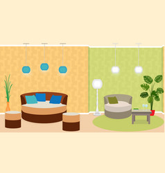 dual zone living room interior with furniture and vector image