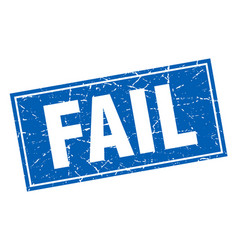 Fail blue square grunge stamp on white vector