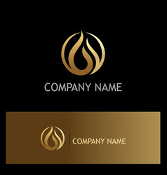 gold water drop oil logo vector image