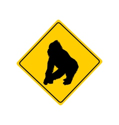 Gorilla warning sign vector image