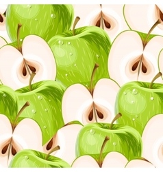 Green apples and apple slices seamless vector