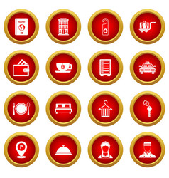 Hotel icon red circle set vector