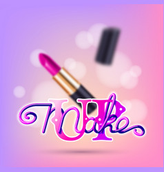 Makeup pink lipstick advertising vector