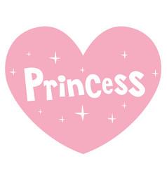 Princess pink heart shaped lettering design vector