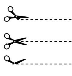 Scissors with cut lines isolated vector image
